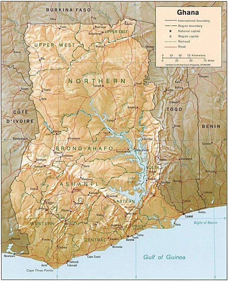 Ghana Karte.Ghana Bergen Karte